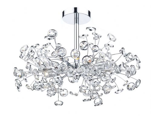 Dar Oberoi 6 Light Semi Flush Polished Chrome OBE0650